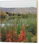 Prosser Autumn River With Hills Wood Print