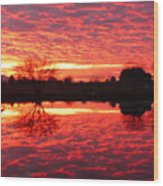 Dramatic Orange Sunset Wood Print