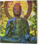 Protection Buddha #2 In Japanese Tea Garden At Golden Gate Park - San Francisco Wood Print