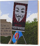 Protesters With An Anonymous Mask Wood Print