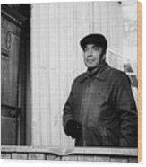 Proud Handsome Man And House Door Wood Print