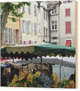 Provence Market Day Wood Print