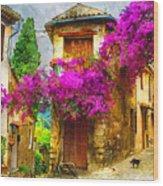Provence Street Wood Print