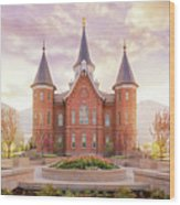 Provo City Center Temple Dawn Wood Print