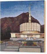 Provo Temple Wood Print by Jeff Brimley
