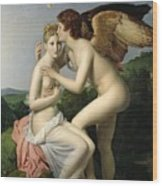 Psyche Receiving The First Kiss Of Cupid Wood Print