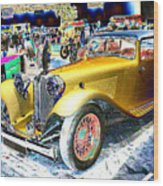 Psychedelic 1930 Jaguar Ss1 At London Classic Car Show 2015 Wood Print