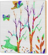 Psychedelic Forest Wood Print