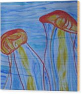 Psychedelic Lion's Mane Jellyfish Wood Print