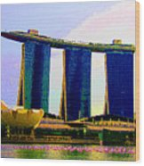 Psychedelic Marina Bay Sands Hotel Singapore Wood Print