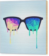 Psychedelic Nerd Glasses With Melting Lsd Trippy Color Triangles Wood Print