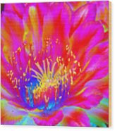 Psychedelic Pink Flower Wood Print