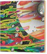 Psychedelic Planetary Journey Wood Print