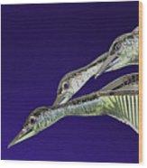 Psychedelic Sculpture Of Three Mallard Ducks Flying Wood Print