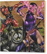 Psylocke And Deadpool Wood Print