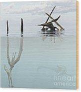 Pteranodon Pterosaur Diving Underwater Wood Print