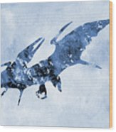 Pterodactyl-blue Wood Print