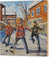 Puck Control Hockey Kids Created By Prankearts Wood Print