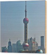 Pudong Shanghai Oriental Perl Tower Wood Print by Christine Till
