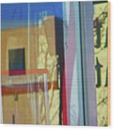 Pueblo Downtown Reflection With Flag Wood Print