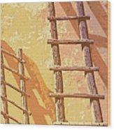 Pueblo Ladders Wood Print