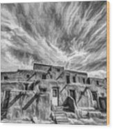 Pueblo Storm Clouds Wood Print