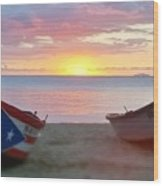 Puerto Rico Sunset On The Beach Wood Print