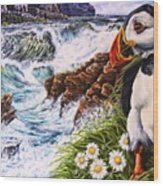 Puffin Peace Wood Print
