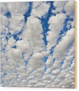 Puffy Clouds And Blue Sky Wood Print