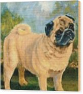 Pug In The Park Wood Print
