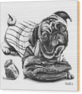 Pug Ruth  Wood Print by Peter Piatt