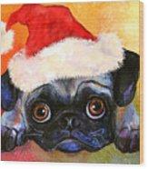 Pug Santa Portrait Wood Print