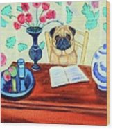Pug Scholar Wood Print