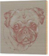 Pug Square Wood Print