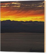Puget Sound Olympic Mountains Sunset Wood Print