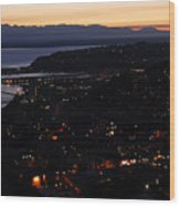 Puget Sound Sunset Wood Print