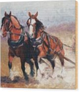 Pulling Contest Clydesdales Draft Horse Paintings Wood Print