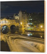 Pulteney Bridge At Night Wood Print