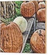 Pumkins In A Row Wood Print