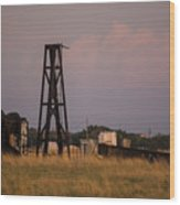 Pump Jack Golden Hour Wood Print