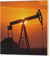 Pumping Oil Rig At Sunset Wood Print
