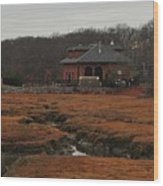 Pumping Station On The Marsh Wood Print