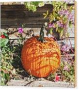 Pumpkin And Flowers Wood Print