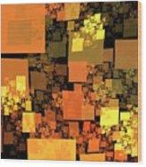 Pumpkin Autumn Cubes Wood Print