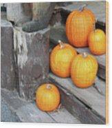 Pumpkin Autumn In Adirondacks Wood Print by Kate  Leikin
