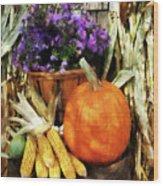 Pumpkin Corn And Asters Wood Print