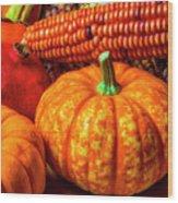 Pumpkin Corn Still Life Wood Print