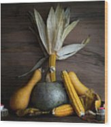 Pumpkin, Corncob, Autumn Leaves And Burning Candles Decoration O Wood Print