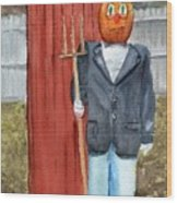 Pumpkin Farmer Wood Print