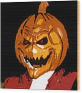 Pumpkin Head Wood Print
